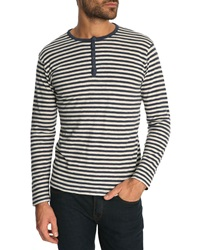 Armor Lux Carbon And Beige Striped Sailor Top In Cotton And Linen With Tunisian Neck