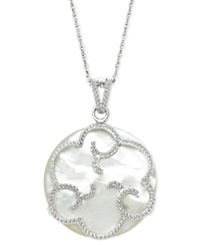Macy's Sterling Silver Necklace Mother Of Pearl 25Mm Flower Pendant