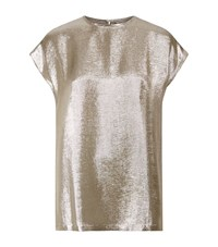 Max Mara Maxmara Cap Sleeve Lurex Top Female Gold