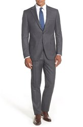 Men's Big And Tall Peter Millar Classic Fit Plaid Wool Suit Grey