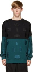 Marcelo Burlon Black And Turquoise Embroidered Ollague Pullover