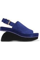 Marni Two Tone Suede Wedge Sandals Royal Blue