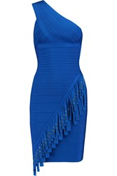 Herve Leger One Shoulder Tasseled Bandage Mini Dress Blue