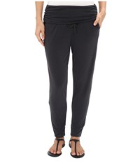 Splendid Sandwash Jersey Fold Over Pants Black Women's Casual Pants