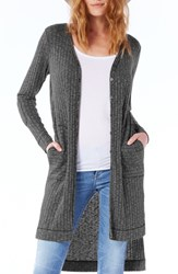 Michael Stars Women's Elbow Patch Long High Low Cardigan