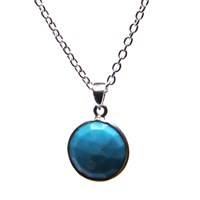 Puck Wanderlust Silver December Birthday Charm Necklace Turquoise Blue Silver