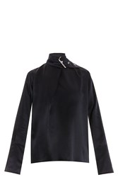 Marques Almeida Silk Buckle Neck Blouse Black