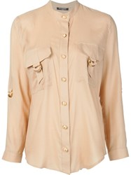 Balmain Buckle Pocket Shirt Nude And Neutrals
