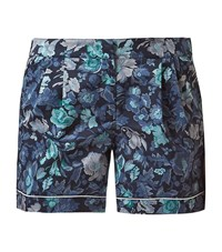 Burberry Runway Floral Print Shorts Female Blue