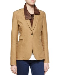Veronica Beard Scout Jacket W Leather Dickey Women's Self Lthr Khaki