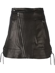 Diesel Black Gold Zipped Leather Skirt Black