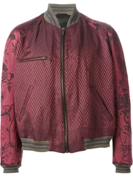 Haider Ackermann Chevron And Floral Bomber Jacket