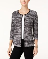 Jm Collection Petite Faux Leather Trim Marled Jacket Only At Macy's Grey Black Combo