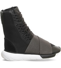 Adidas Y3 Qasa Neoprene And Leather Trainer Boots Charcoal Vista Grey