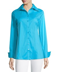 Neiman Marcus Long Sleeve Button Down Blouse Blue