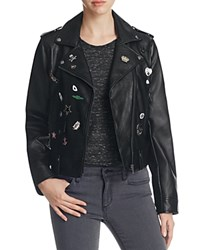Bagatelle Pins And Patch Faux Leather Moto Jacket Black