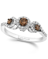 Le Vian White And Chocolate Diamond 3 Stone Ring 1 2 Ct. T.W. In 14K White Gold