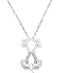 Macy's Diamond Dog Pendant Necklace 1 10 Ct. T.W. In Sterling Silver
