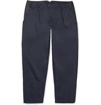 Kolor Mesh Trimmed Cotton Twill Trousers Blue