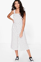 Boohoo Polka Dot Cut Side Jumpsuit Ivory