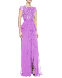 Naeem Khan Metallic Beaded Cascading Ruffle Gown