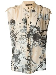 Roberto Cavalli Thorny Roses And Snakes Print Button Down Sleeveless Shirt Nude And Neutrals