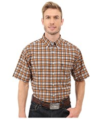 Cinch Athletic Plaid Short Sleeve Gray Men's Short Sleeve Button Up