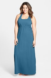 Plus Size Women's Hard Tail Surplice Side Tie Racerback Maxi Dress Dark Teal