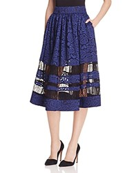 Alice Olivia Tami Lace Midi Skirt Indigo Black