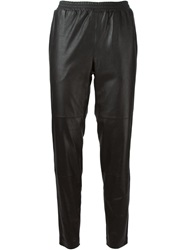 Won Hundred Tapered Leather Trousers Black