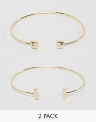 Orelia Geo Open Bangle 2 Pack Pale Gold