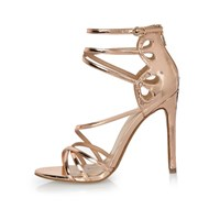 River Island Womens Rose Gold Tone Strappy Heels
