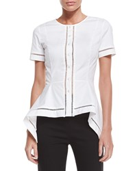 Carolina Herrera Short Sleeve Button Front Blouse White