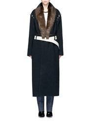 Toga Archives Sheepskin Fur Silhouette Print Belted Blanket Coat Black
