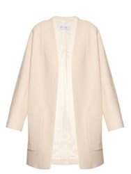 Raey Open Front Woven Cotton Blend Coat Ivory