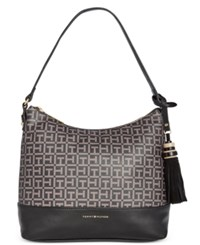 Tommy Hilfiger Grace Coated Tassel Hobo Black Pepper