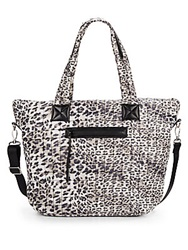 Saks Fifth Avenue Leopard Print Quilted Nylon Tote