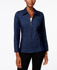 Alfred Dunner Sierra Madre Collection Embellished Chevron Denim Jacket