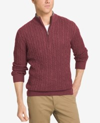 Izod Men's Big And Tall Mock Turtleneck Sweater Syrah Heather
