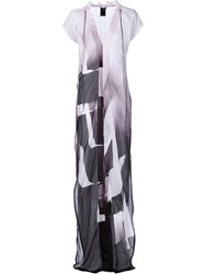 Ann Demeulemeester Sheer Printed Maxi Dress Pink And Purple