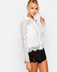 Fashion Union Cropped Shirt In Floral Lace White