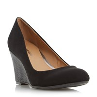 Head Over Heels Angie Snake Wedge Court Shoes Black