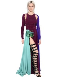 Fausto Puglisi Embellished Satin And Crepe De Chine Dress