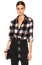 3.1 Phillip Lim Exaggerated Pocket Classic Top In Black Red Checkered And Plaid