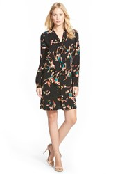 Petite Women's Halogen Tie Neck Shift Dress Black Red Shadow Floral