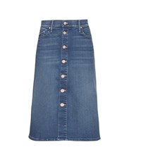Mother High Waisted Button Midi Denim Skirt Blue