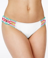 Jessica Simpson Love Me Knot Macrame Hipster Bikini Bottom Women's Swimsuit White Shimmer