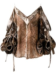 Y Project Ruffled Sleeve Top Brown