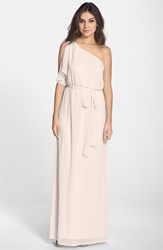 Women's Nouvelle Amsale One Shoulder Chiffon Gown Nude