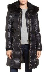 Via Spiga Women's Quilted Coat With Faux Fur Trim